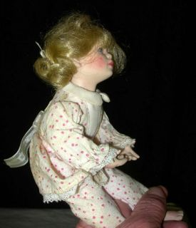 1992 MBI Porcelain Girl Doll in Pajamas Artist Signed