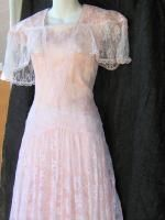 Vtg Gunne Sax Prarie Boho Lace Pink Wedding Festival Dress Medium Size