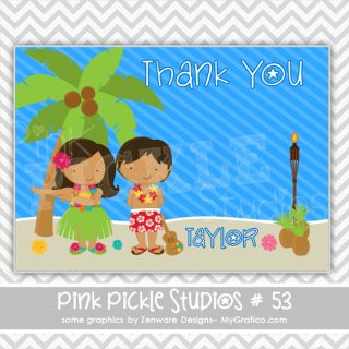 Luau Personalized Party Invitation or Thank You Card 53