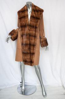 Max Mara Luxe Khaki Cashmere Fur Lapel Cuffs Long Coat Jacket