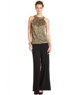 Alfani Sleeveless Metallic Beaded Top & Wide Leg Pants