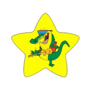 funny rock and roll crocodile music cartoon sticker