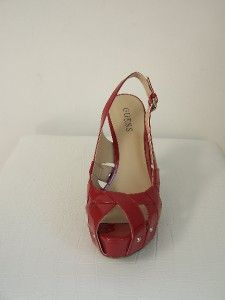 New Guess Medium Red Meagan Peep Toe w Studs Pumps Sandals Shoes Heels