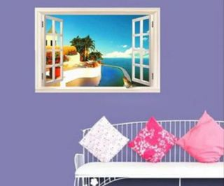 New Creative Mediterranean Scenery Window Home Decor Art Wall