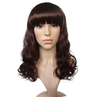 Accessories Stylish Neat Bang Medium Curly Hair Wig 17 72 Inch