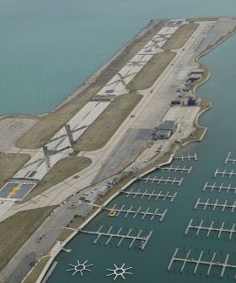 Chicagos Meigs Field Landing Airport Air Field Red Landing Lights and