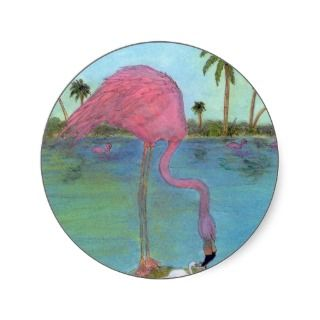 Pink Flamingo Mama Baby Egg Palm Trees Art Sticker