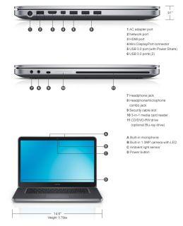 Dell XPS 15 L521X Laptop i7 3520M 8GB 750GB 7 2K 32GBSSD Bluray 1080p