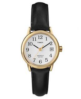 Timex Watch, Womens Black Leather Strap T2H341UM
