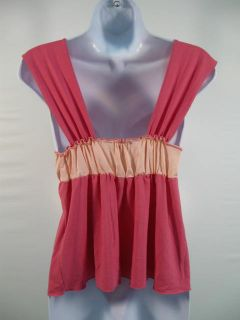 Diane Medak Pink Striped Sleeveless Tank Shirt Top XS