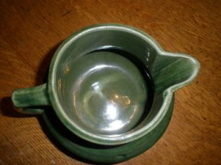 Early McCoy Pottery Stoneware Green Buttermilk Pitcher Shield Mark