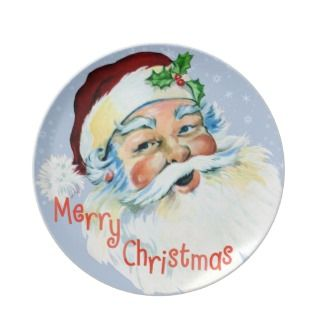 Santa Face Christmas Plate