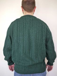 Vtg Members Only Shetland Wool Cable Knit Sweater L