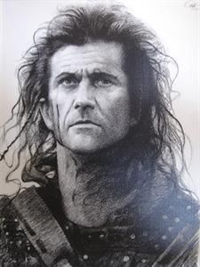Mel Gibson in Braveheart Sketch Charcoal Drawing WU096
