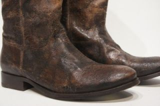 Frye Melissa Button Brown Distressed Vintage Leather Riding Boots 9 5