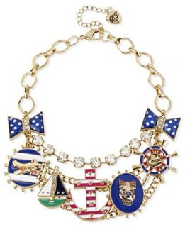 Betsey Johnson Necklace, Antique Gold Tone Anchor Multi Charm Frontal