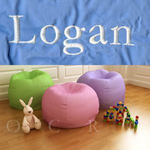 Pottery Barn Kids Anywhere Bean Bag Logan Light Blue Oversize
