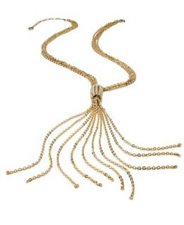 Alfani Necklace, Gold Tone Glass Crystal Station Clasp Lariat Necklace