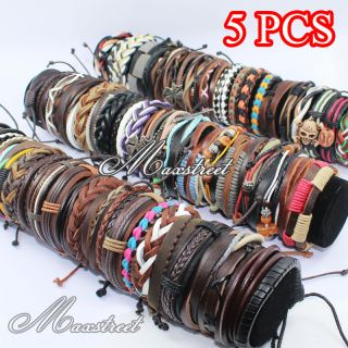 5pcs Lot Fashion Womens Mens Leather Cord Braided Bracelet Wristband