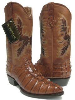 Mens Cognac Brown Leather Tail Cut Crocodile Alligator Cowboy Boots