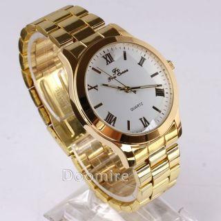 Mens Roman Index Golden Band White Big Face Quartz Wrist Watch