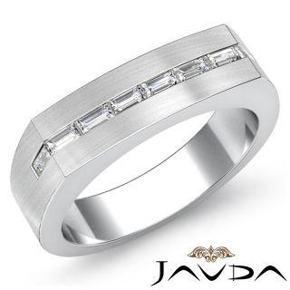 6mm Mens Half Wedding Band Baguette Diamond Solid Ring 14k Gold White