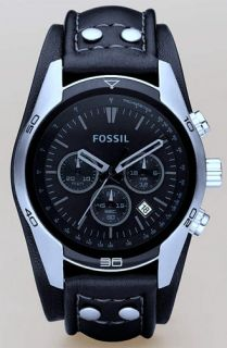 Fossil Black Leather Band Wide Cuff Mens Latest Watch CH2586