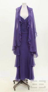 Melinda Eng 2pc Purple Silk Gathered Top Skirt Scarf Set Size 8