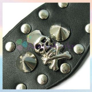 Gothic Mens Black Skull Leather Metal Stud Finger Ring