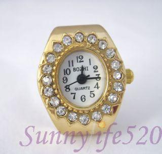 Luxury Oval Rhinestone Gold Mens Lady Finger Ring Watch