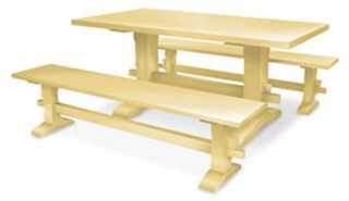 Eco Friendly Chilmark Trestle Leg Bench Solid Wood 30 Painted Colors