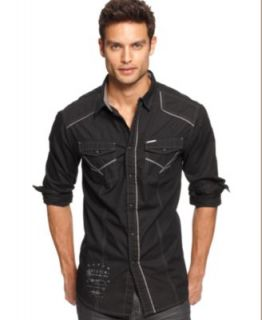 Marc Ecko Cut & Sew Shirts, Long Sleeve Button Down Graphic Shirt