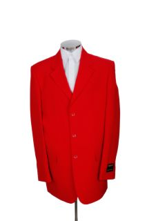 New Mens 3 Button Red Dress Suit Single Breasted 50R 50 Single