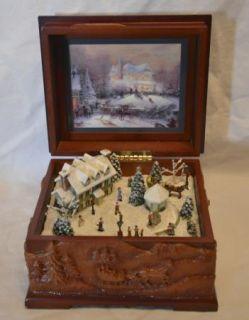 Thomas Kinkade Wood Music Box St Nicholas Village The Joy of Christmas
