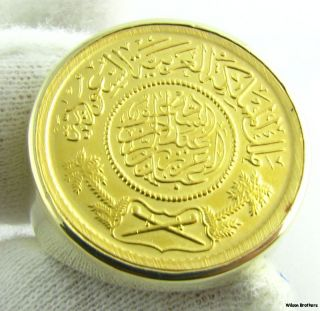 22K Saudi Guinea Large Coin Mens Ring 14k Solid Gold 20 4G Investment