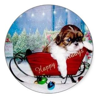 Happy Holidays Shih Tzu Sticker