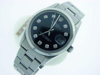 Mens Rolex Stainless Steel Date Watch w Black Diamond Dial