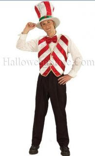 Mr Peppermint Adult Christmas Costume includes a hat, bow tie and red