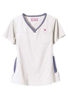 Koi Medical Uniforms White Ashley Pink Heart Fashion Scrub Top XS 3XL