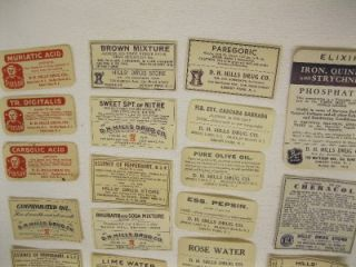 Paper Medicine Bottle Labels Lot Hills Drug Asbury Park NJ Spring Lake