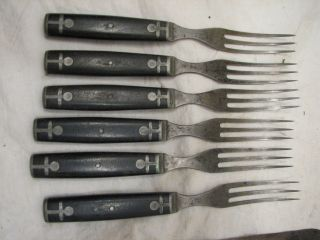 Meriden Cutlery Fancy Wood Handle Flatware Wood 3 Tine Fork Knife