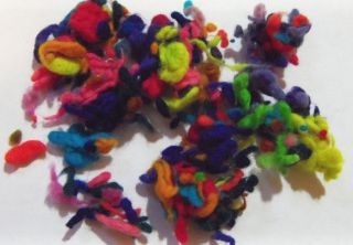 CRAZY 100% Merino Wool Nubbies bright colors blend in batts for art