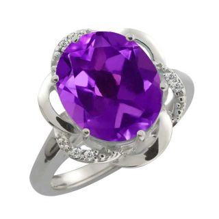 26 Ct Purple Oval Amethyst and White Topaz Argentium Silver Ring