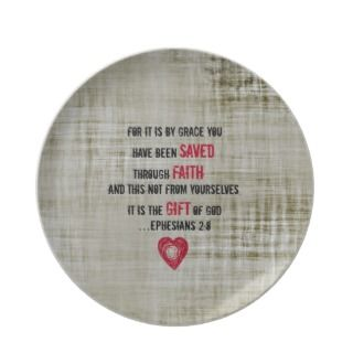Bible Verse Ephesians 2:8 Dinner Plates