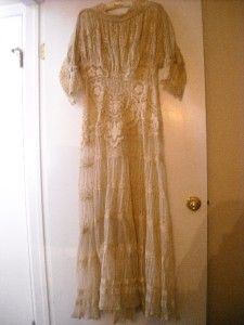 Antique Vintage Lace French Net Dress Gown Museum Quality Wedding