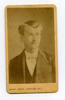 Victorian CDV Photo Crazy Hair Guy Devilish Look Guy
