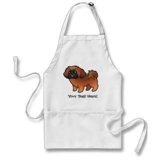 Cartoon Shih Tzu (red puppy cut) aprons by SugarVsSpice