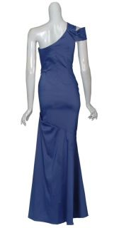 David Meister Sensuous Slate Blue One Shoulder Long Evening Gown Dress