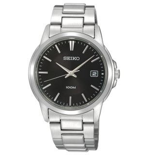 Mens Stainless Steel Case Bracelet Black Dial Date Display Watch