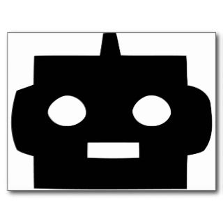 Black cartoon robot face customizable post card